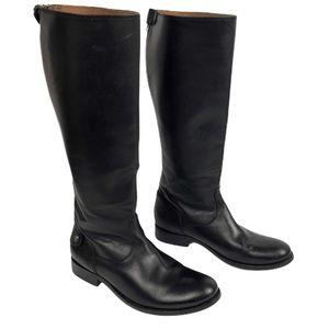 FRYE Melissa Button Back Zip Black Knee High Boot